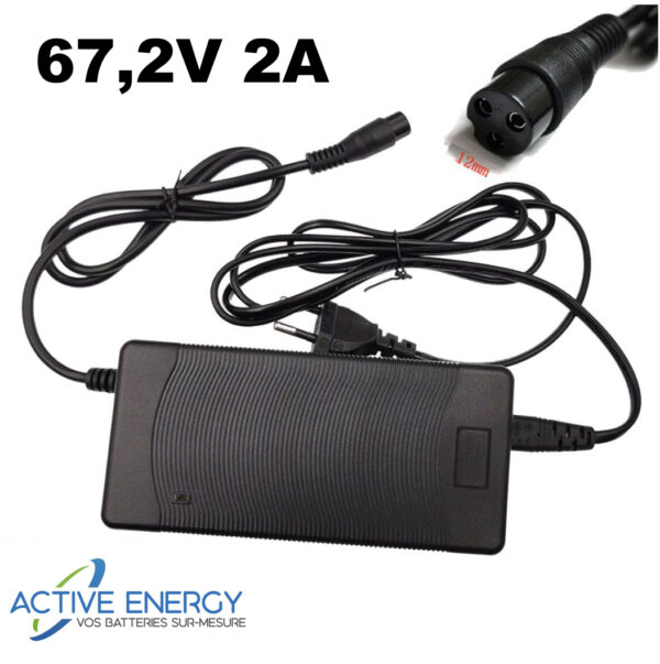chargeur trottinette electrique 672V 2A active energy gx16